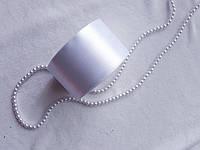 Лента атлас, 5 см, белая