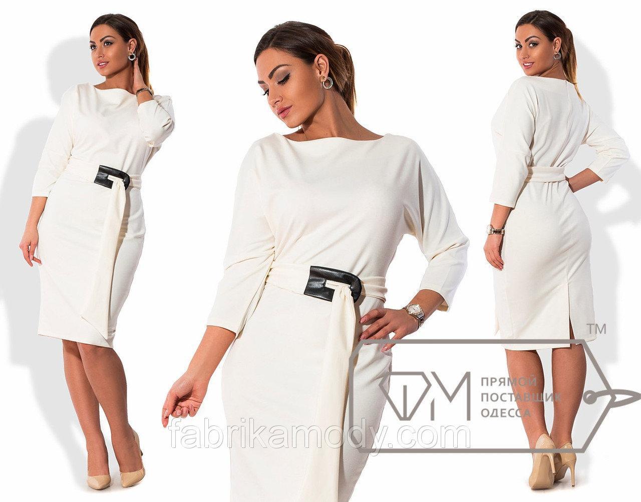 Платье миди облегающее из джерси с рукавами-кимоно, вырезом-лодочка и поясом с мягкой пряжкой X5370