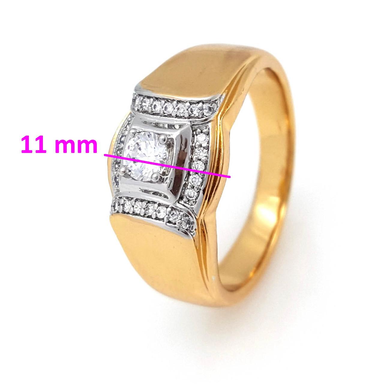 Кольцо Печатка с камнями, р.19,5, р.20,5 р.21, позолота Xuping