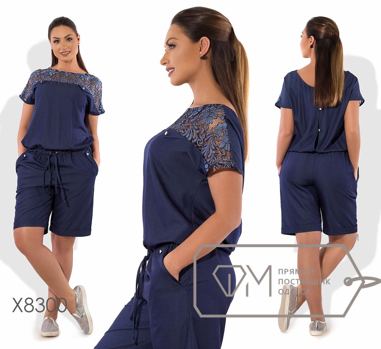 Комбинезон прямой из летнего джинса с короткими рукавами-кимоно и верхом лифа из гипюра, кулиской на поясе, спинкой на застёжке и шортами X8300