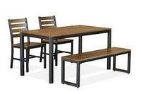 Комплект стол, скамейка + 2 кресла в стиле LOFT (NS-970000355)