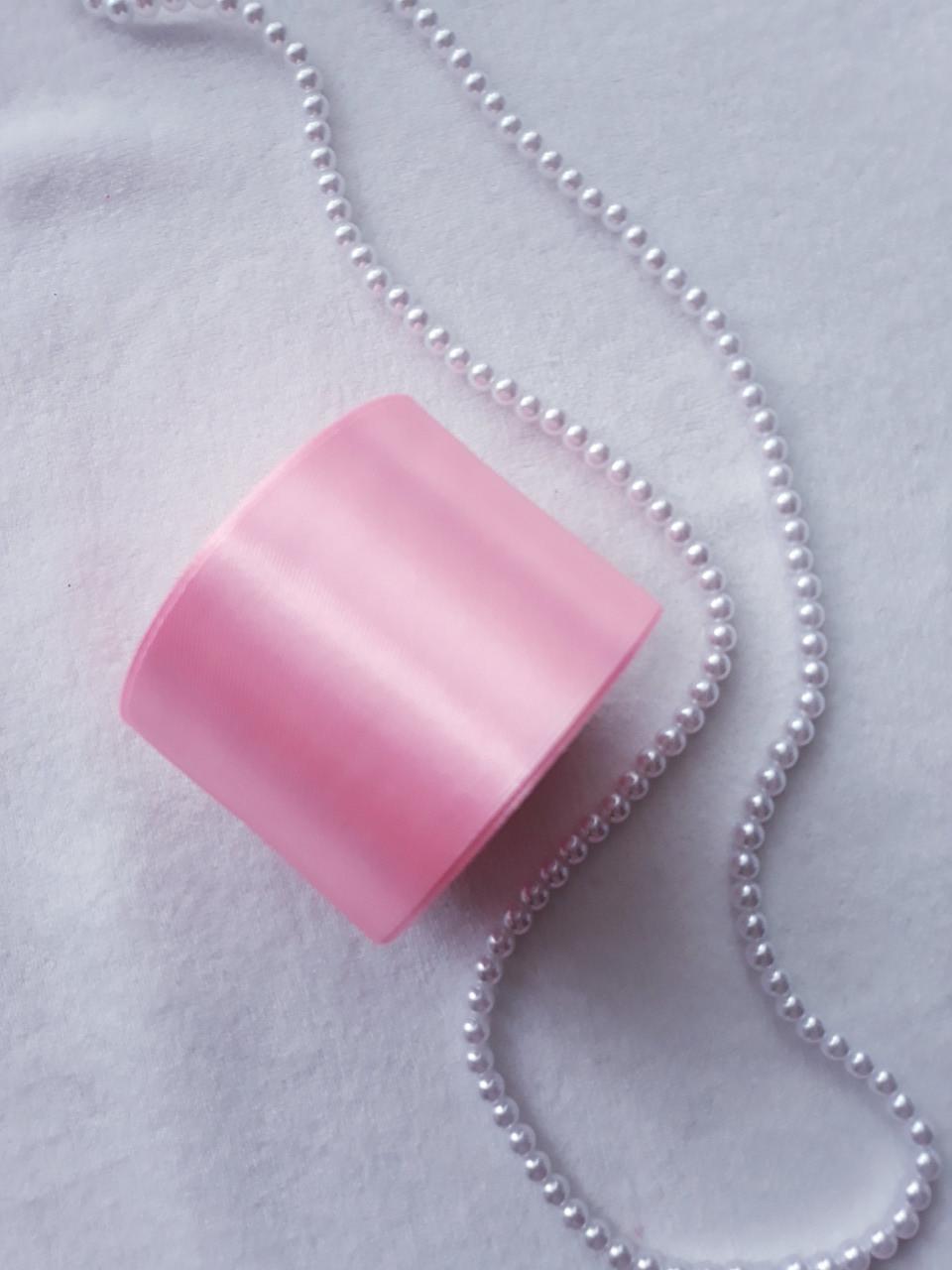 Лента атлас, 5 см, светло розовая