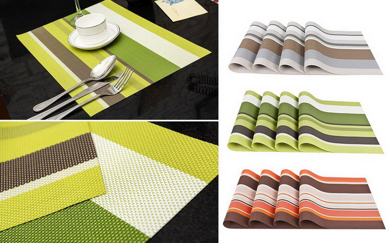 Комплект из 4-х сервировочных ковриков (зеленый)