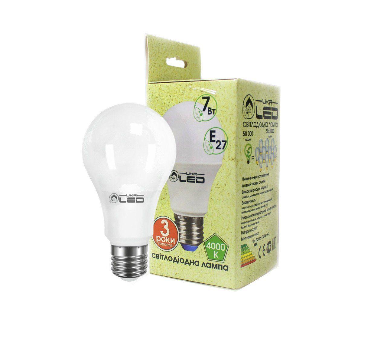 Светодиодная лампа UkrLed Е27 7W (Груша) 4000К (172)