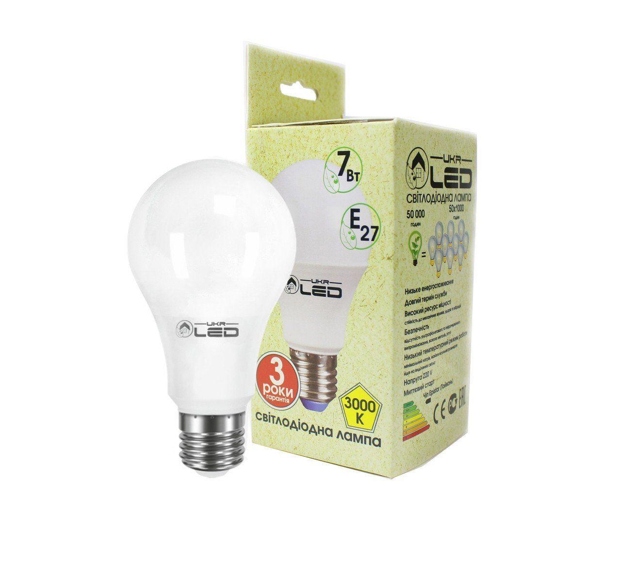 Светодиодная лампа UkrLed Е27 7W (Груша) 3000К (175)