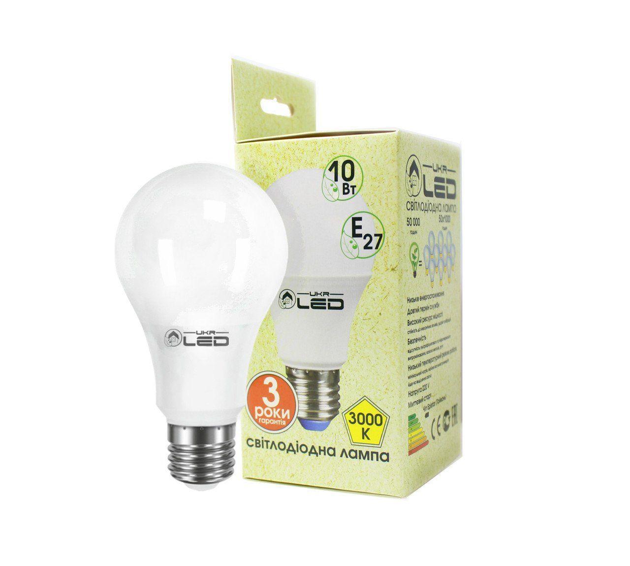 Светодиодная лампа UkrLed Е27 10W (груша) 3000К (176)