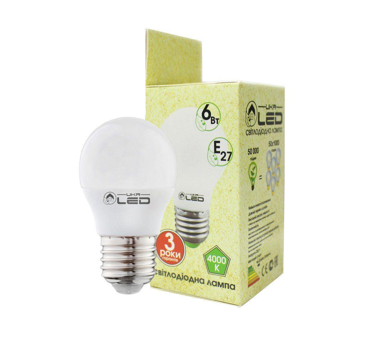 Светодиодная лампа UkrLed Е27 6W (Шарик) 4000К (179)
