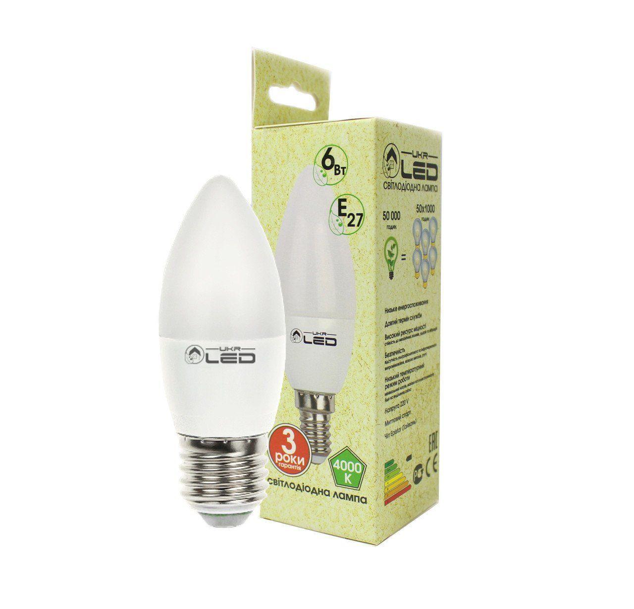 Светодиодная лампа UkrLed Е27 6W (Свеча) 4000К (184)