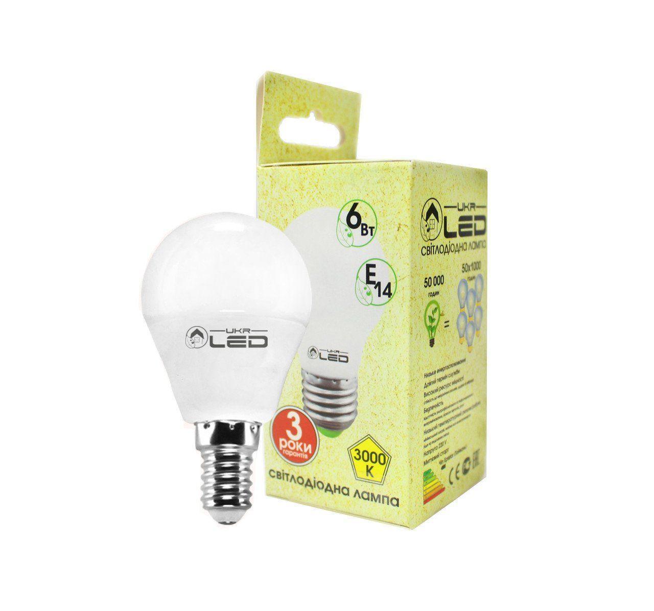 Светодиодная лампа UkrLed Е14 6W (Шарик) 3000К (530)