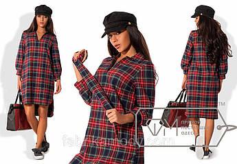 Платье-шемиза прямое из костюмки с разноуровневым подолом, манжетами, щелевым вырезом и поясом 7870