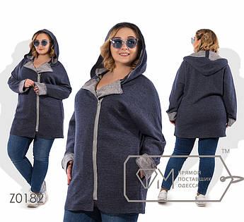Кардиган прямой из шерсти на смещённой молнии с капюшоном, косыми карманами и контрастными отворотами длинных рукавов Z0182