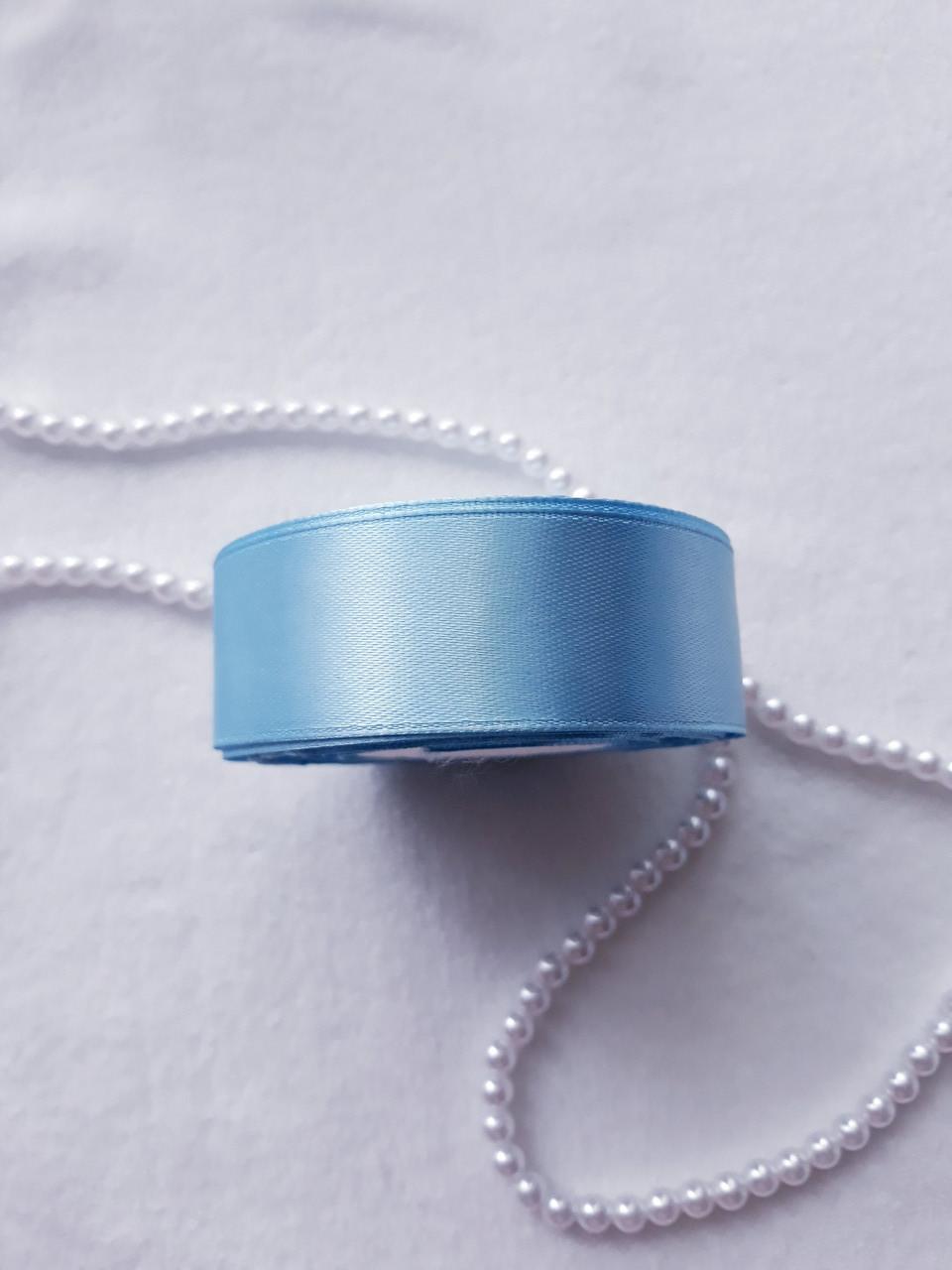 Лента атлас, 2,5 см, голубая