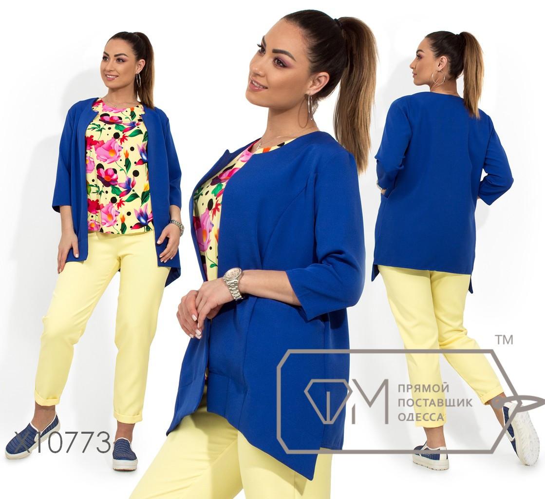 Костюм тройка - пиджак без воротника с накладными карманами, блуза прямого кроя с короткими рукавами, брюки зауженные на резинке X10773