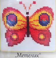 Бабочка. Вышивание бисером на канве 11х11cм., фото 1