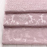 """Ткань жаккард шенилл пике """"Вензель"""", цвет розовой пудры (№2376), фото 3"""