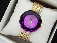Оригинальные женские наручные часы Baosaili с короной,фиолетовый ободок вокруг циферблата, золото, фото 1