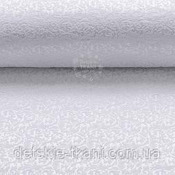 """Ткань жаккард для покрывал """"Вензель"""", цвет белый (№2377)"""