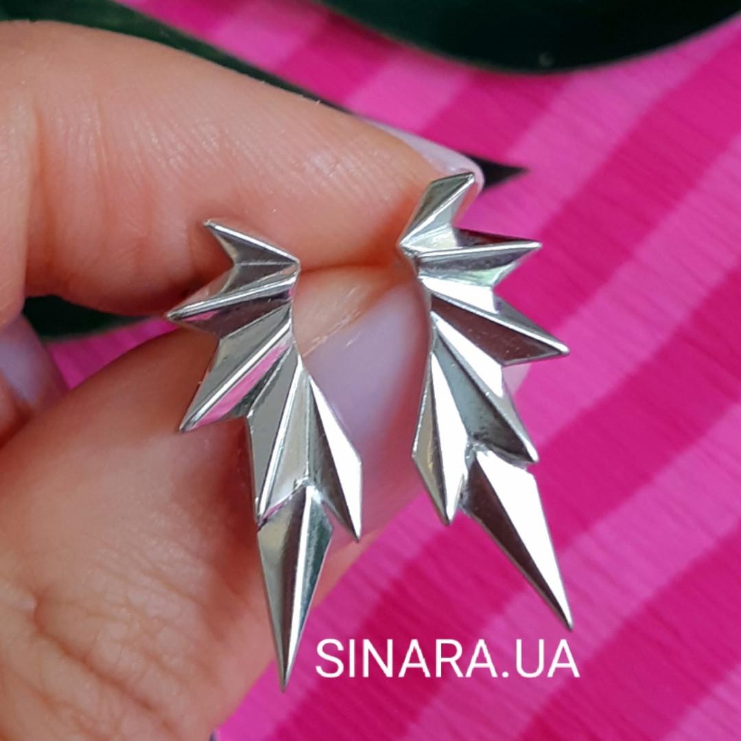 Серебряные серьги каффы Dragon Wings - Каффы минимализм серебро