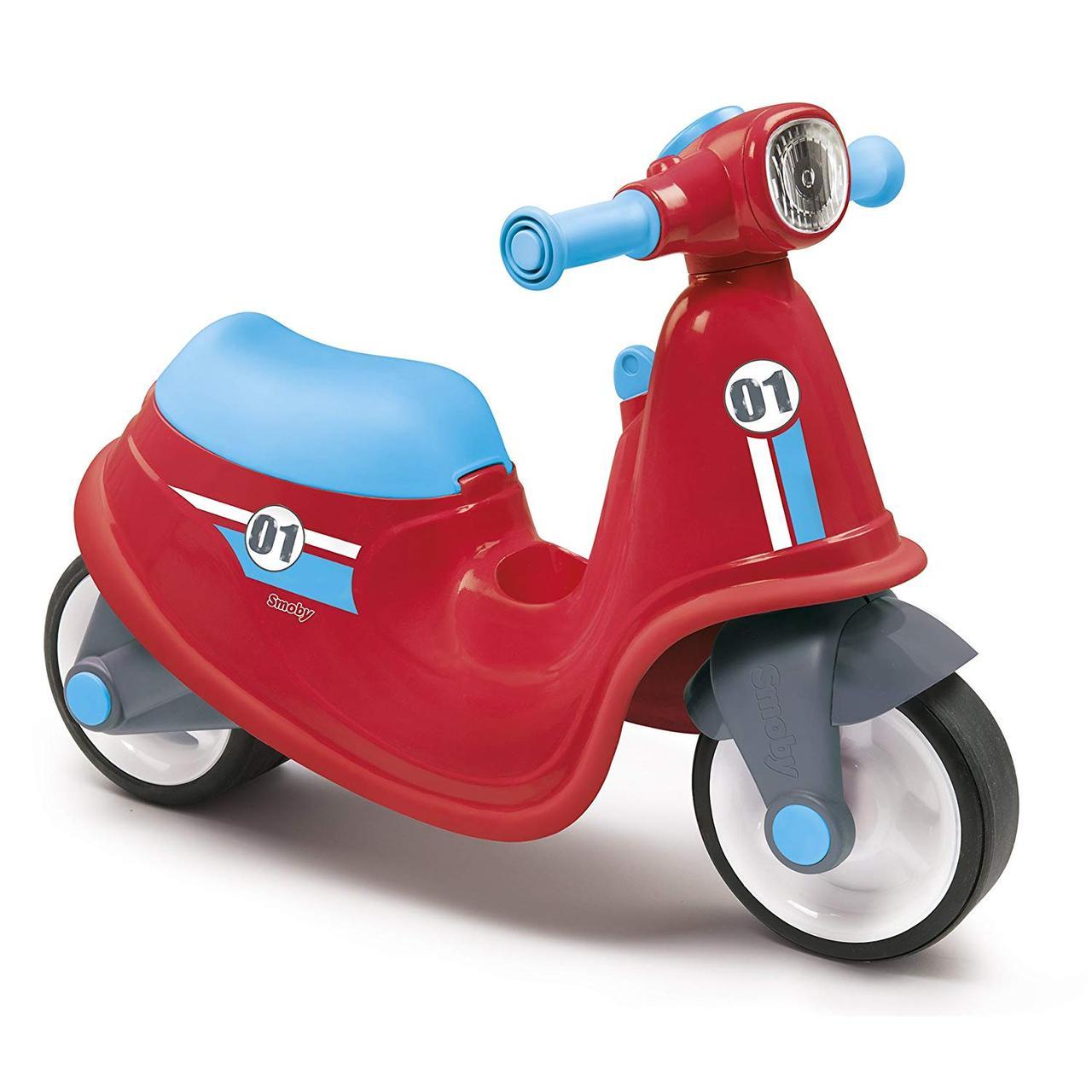 Детский мотоцикл беговел толокар Smoby красный 721003