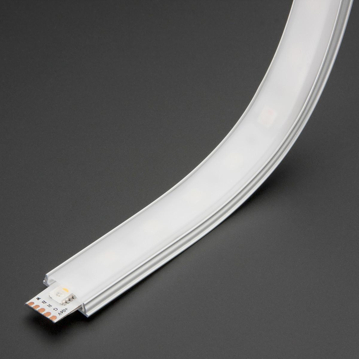 Алюминиевый накладной LED профиль ЛПГ анод + линза рассеиватель