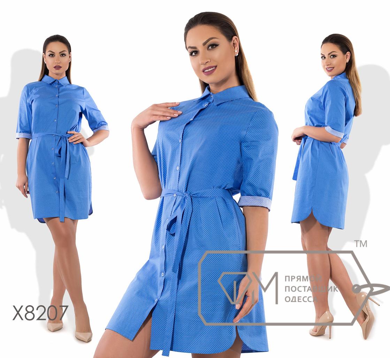 Платье-рубашка миди прямое из коттона под пояс с рукавами 3/4, застёжкой по всей длине и боковыми разрезами X8207