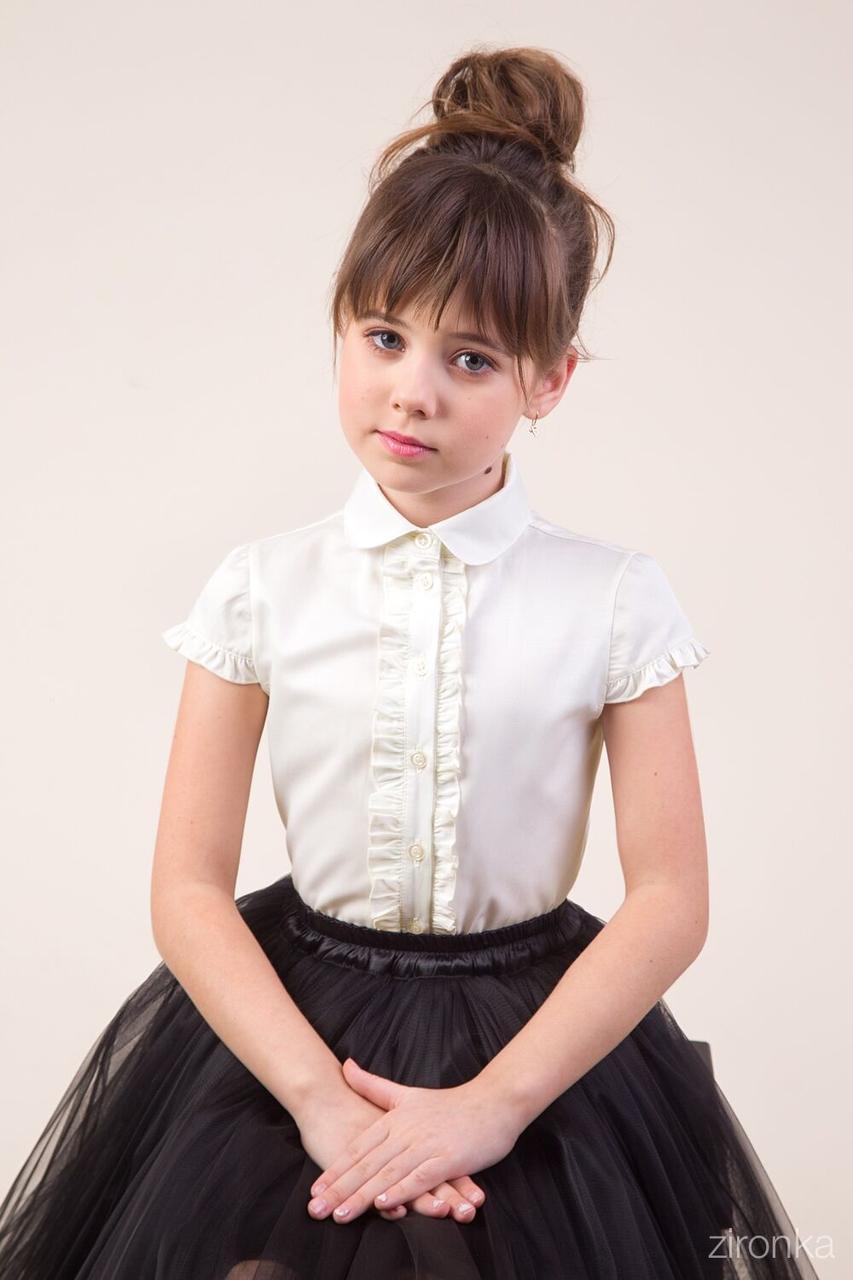 Блуза для девочки Зиронька Рюши, кремовый (р.146)