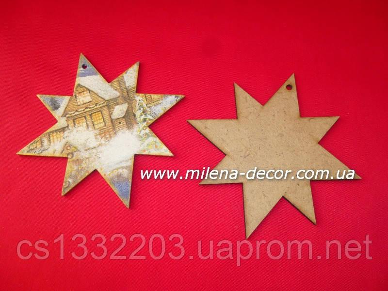 Новогодняя подвеска - звёздочка (мдф) 11.5*11.5см