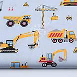 """Лоскут ткани """"Строительные машины"""" на сером фоне, №1638а, размер 45*80 см, фото 2"""