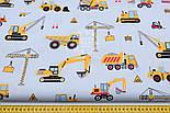 """Лоскут ткани """"Строительные машины"""" на сером фоне, №1638а, размер 45*80 см, фото 3"""