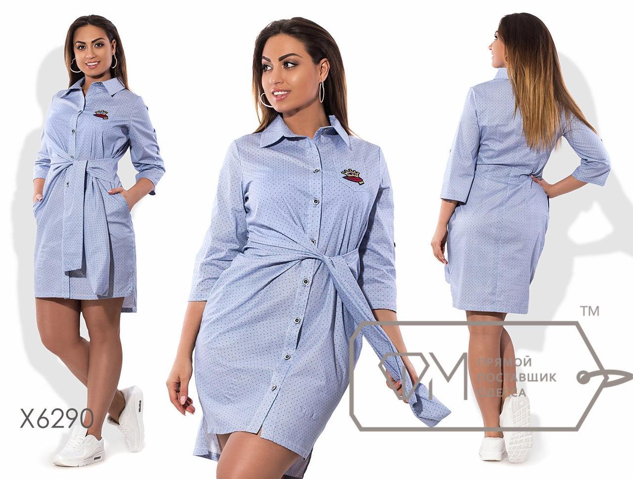 Платье-рубашка мини приталенное из коттона с рукавами 3/4, вшитым двойным поясом и асимметричным подолом X6290