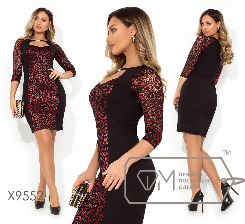 Платье-футляр с ситуэтом из креп дайвинга, выразительным декольте и рукавами 3/4 из гипюра с напылением X9552