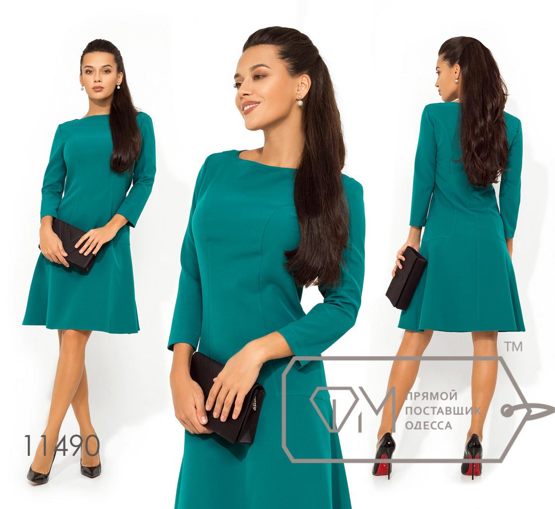 Платье-мини с воротником-лодочка, фигурными вытачками, рукавами 7/8 и юбкой-солнце 11490
