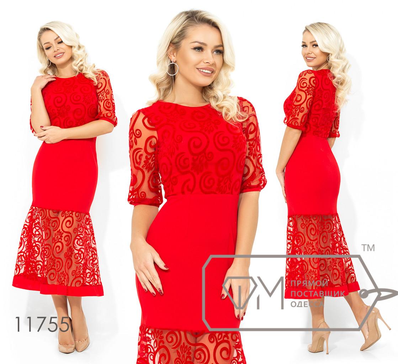 Вечернее платье-миди покроя русалка с узором-вензель из флока на лифе коротких рукавах и подоле 11755