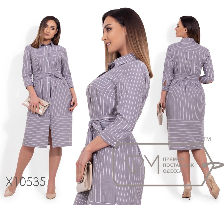 Платье-рубашка прямого кроя, под пояс, с рукавами 7/8 X10535