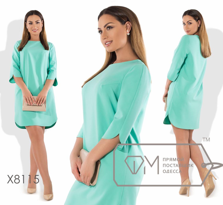 Платье-туника мини прямое из плательного крепа с ювелирным вырезом и закруглёнными боковыми разрезами по рукавам и подолу X8114