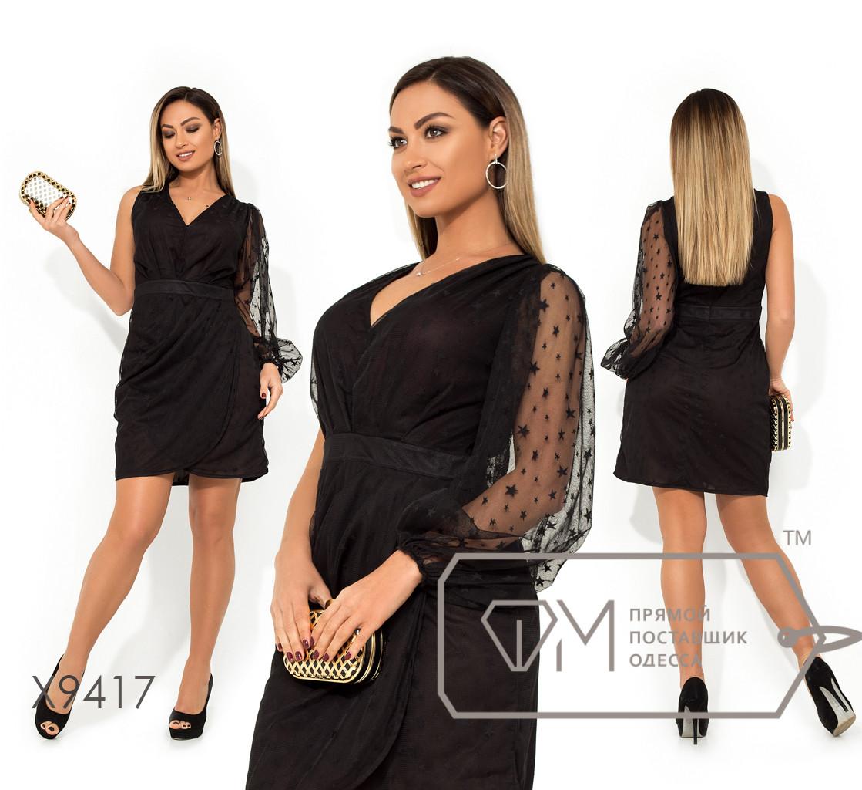 Платье-мини с V-образным вырезом одним рукавом-фонарик втачным поясом и юбкой с имитацией запаха, основа сетка+вискозный подклад X9417
