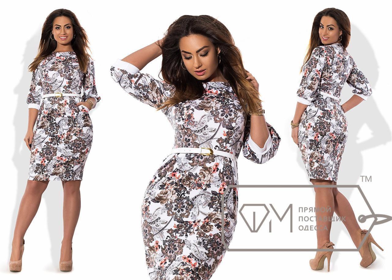 Платье миди облегающее из принтованного франц.трикотажа с рукавами на манжетах и тонким пояском X6037