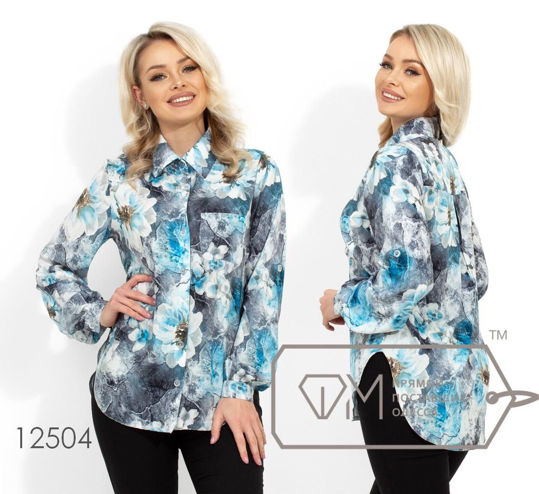 Рубашка из софта с накладным карманом на груди, стояче-отложным воротником и круглыми углами на подоле 12504