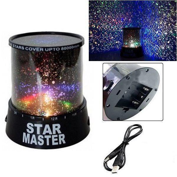 Ночник - проектор Star Master от USB (черный)