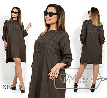 Платье-трапеция с принтованным лифом, рукавами 3\4 на патиках и асимметричным подолом X10110