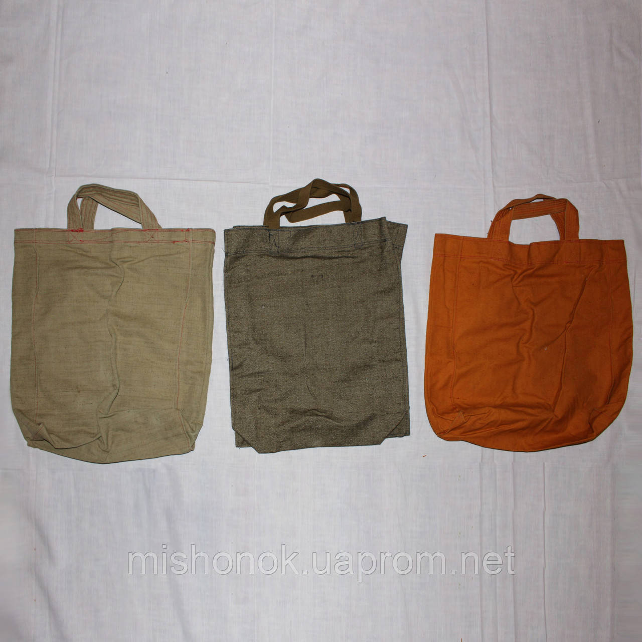 Комплект 3 хозяйственные брезентовые сумки 46х46х11 см и меньше, эко-торба