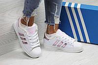 Кроссовки женские белые с розовыми полосками Adidas Superstar 6358