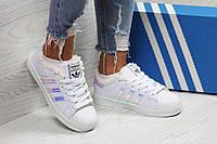 Кроссовки женские белые с фиолетовыми полосками Adidas Superstar 6356