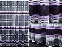 Тюль фатин полоса, цвет сиреневый с фиолетовым. 3м*2,5м. Код 313т У