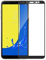 Стекло защитное для телефона Samsung J6 Plus цвет черный Full Glue
