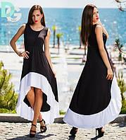 Длинное черное платье с белым ободом снизу