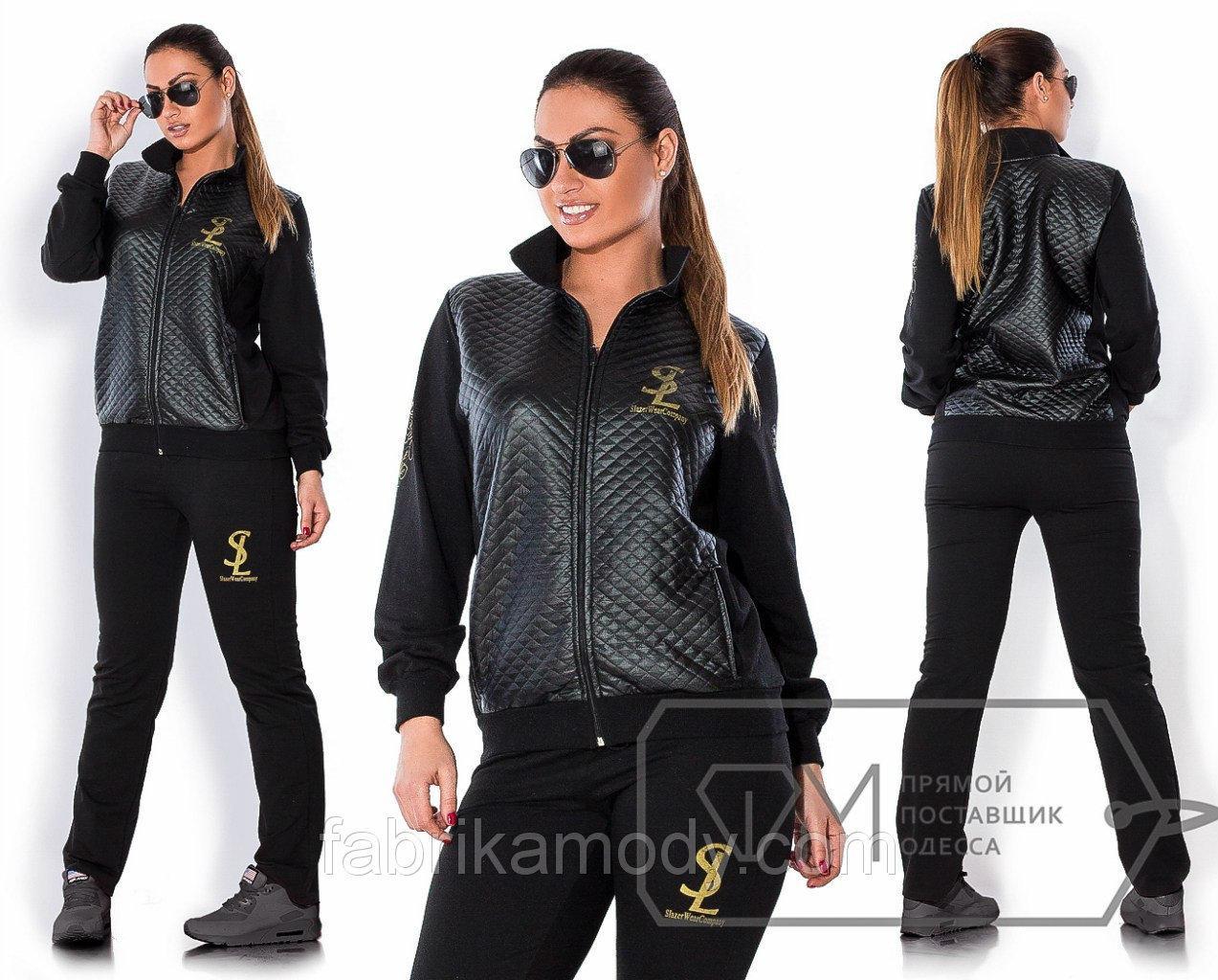 Спорткостюм SL из двунитки и трикотажа-стёжки - олимпийка с воротником-стойкой и приталенные штаны X3058