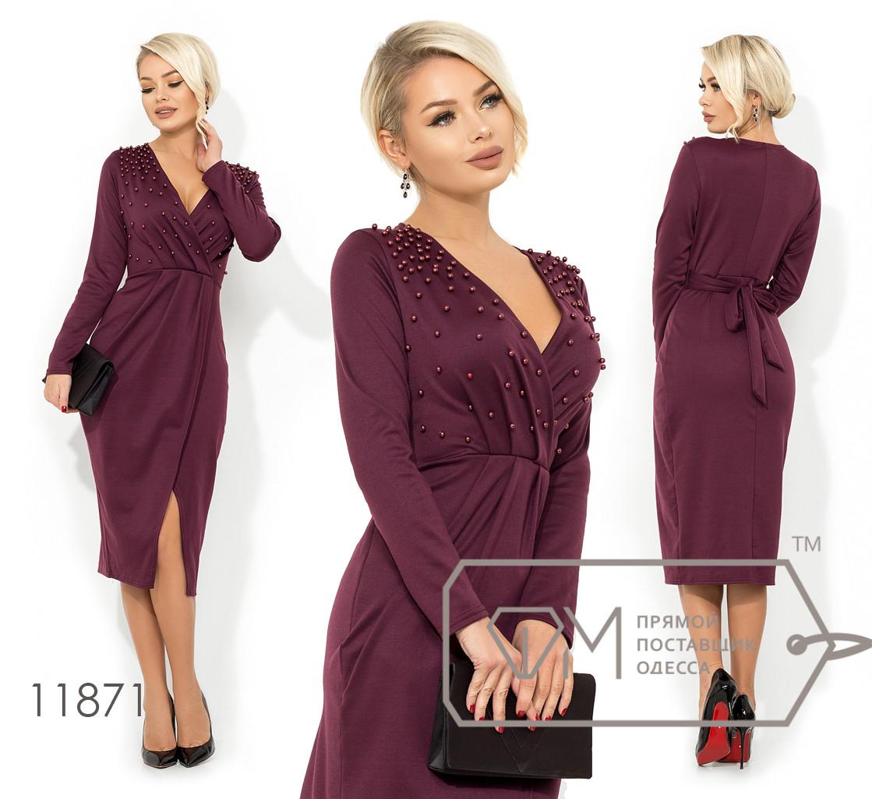 Платье-миди из французского трикотажа с V-образным вырезом, имитацией запаха и несъемным пояском 11871