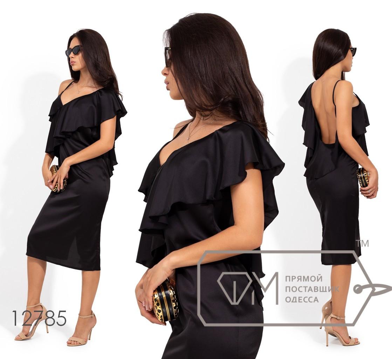 Шелковое платье-миди с широким воланом на одно плечо 12785