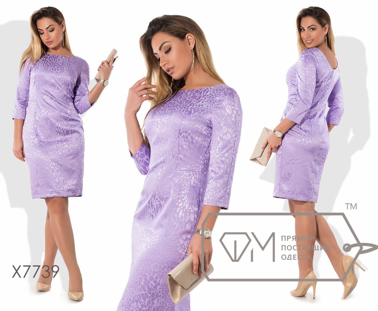 Платье-футляр миди приталенное из жаккарда с рукавами 3/4, вытачками на лифе, ювелирным вырезом и небольшим декольте сзади X7739